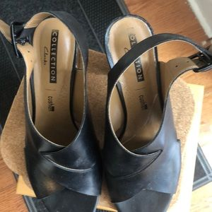 Clarks Shoes - Clark's peep toe block heel **must go!**
